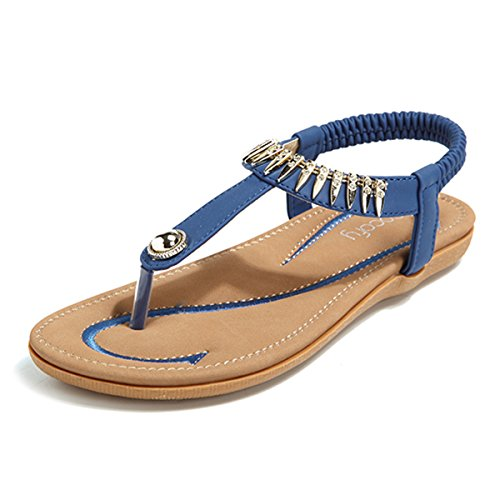e5c229b7a26e14 Socofy Women Summer Low Flat Heel Flip Flop Sandals Slip On Post Thong Boho  Shoes With Rhinestone Roman Sandals Comfy Shoes Clip Toe Beach Elastic  T-Strap ...