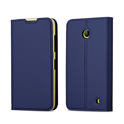 Cadorabo custodia libro per nokia lumia 630/635 in classy blu scuro – con vani di carte, funzione stand e chiusura magnetica – portafoglio cover case wallet book etui protezione