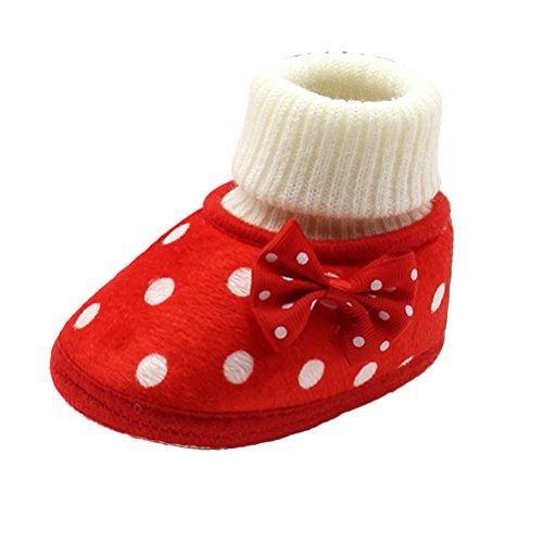 Zhhlinyuan bébé Girls Kids Winter Warm Cotton Soft Toddler Boots Shoes Gift XSX021 red