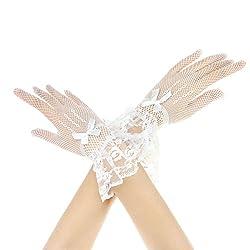 Liying Neu Kurz Spitzenhandschuhe Brauthandschuhe Damen Spitze Handschuhe Hochzeit Abend Party Sexy Hochzeithandschuhe