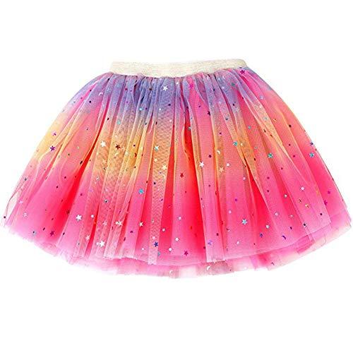 Feen Kostüm Tutu - Ruiuzi Tutu-Rock Regenbogen für Kinder, Mädchen, klassisch, 3-lagig, Tüll, Tutu, Rock für Partys, Halloween, Partys, Kostüme (Rosig, Mädchen (3-8 Jahre))