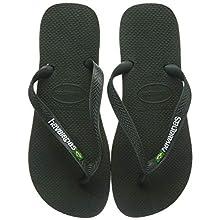 Havaianas Unisex's Brasil Logo Flip Flops, Green Olive, 2/3 UK