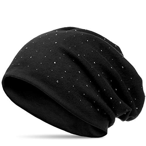 CASPAR MU137 Beanie Mütze mit Strass und warmem Flanell Stoff, Farbe:schwarz (uni);Größe:One Size