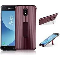 para Samsung Galaxy J7 2017 Case, HengJun TPU + PC Draw Bar Horizontal Vertical Diseño Creativo 2in1 Soporte de Soporte Seismic Anti-Shock Doble Funda Protectora para Samsung Galaxy J7 2017 - Marrón