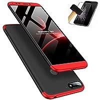Funda Huawei Honor 7A/Y6 y Protector de Pantalla de Vidrio Templado, MISSDU Carcasa 3 in 1 360 Grados Rígida PC Protective Anti-rasguños Case, Negro Rojo