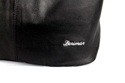 Zerimar Reversible Leder-Umhängetasche für Damen Große Umhängetasche aus weichem Leder für Frau Schultertasche mit großer Kapazität Weiche Leder tasche für damen aus leder praktisch echt leder Schwarz-weiss1