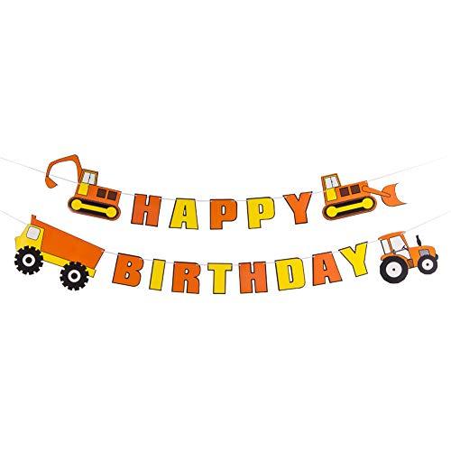 SUNBEAUTY Bauauto Happy Birthday Banner Geburtstag Kindergeburtstag Deko LKW Grabenmaschine, Orange / Gelb (Lkw-happy Birthday)