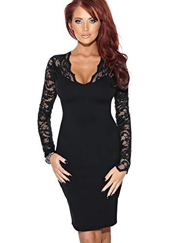Miusol Damen elegant Abendkleid Spitzen V-Ausschnitt Cocktail Ballkleid Langarm Kleid schwarz/Weiß Gr.34-46 (EU 46 (XXL), Schwarz) - 5