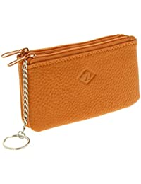 Fashiongen - Porte monnaie double zip cuir