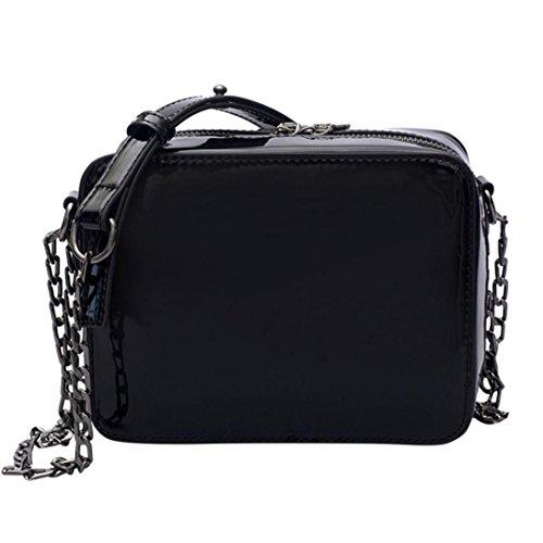 Sac à BandoulièRe Laser Pour Femme Lolittas Fille Fashion Flap Bag Dames Jolie Crossbody (Noir)