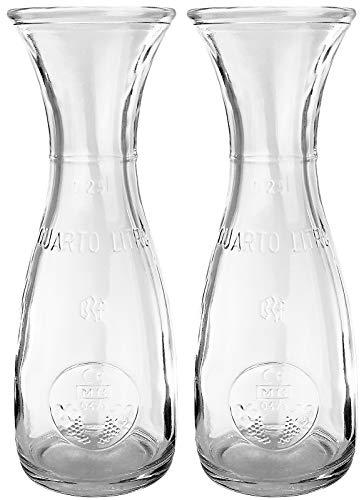 Bormioli Rocco - Weinkaraffe Dekanter Glas 2-teiliges Set - 250ml - mit Eichstrich - Saftkrug Wasserkaraffe Glaskaraffe Wein krug Wasser Saftkrug - hochwertige Qualität - 19 cm (Wein Dekanter Karaffe)