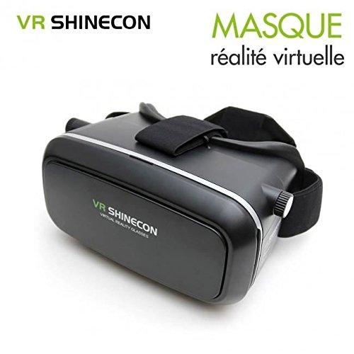 Accessoire divers pour téléphone portable – VR Shinecon Masque de réalité 3D noir – Casque de réalité virtuelle pour smartphone type Google Cardboard VR