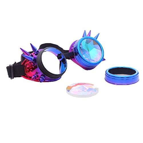 DODOING Kaleidoscope Goggles Weinlese-Art Gotische Retro Steampunk Cosplay Brille Glasses Welding Punk Brille (Blau-Lila)