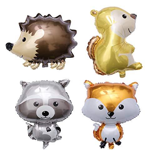 Amosfun 4 Stück Tiere Ballon Folienballon Luftballons Aufblasbare Tier Spielzeug für Baby Kinder Geburtstag Party Deko (Igel + Fuchs + Waschbär + Eichhörnchen)