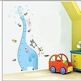 Adesivi Murali,Fai da te cartone animato animale bambino altezza misura crescita grafico autoadesivo della parete camera dei bambini bella blu elefante gatto cane uccelli decorazioni carta da parati