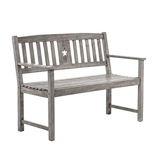Gartenbank Stern - 2-Sitzer Holzbank mit Armlehnen - Eukalyptusholz - Grau - ca. B120 x T58 x H87 cm