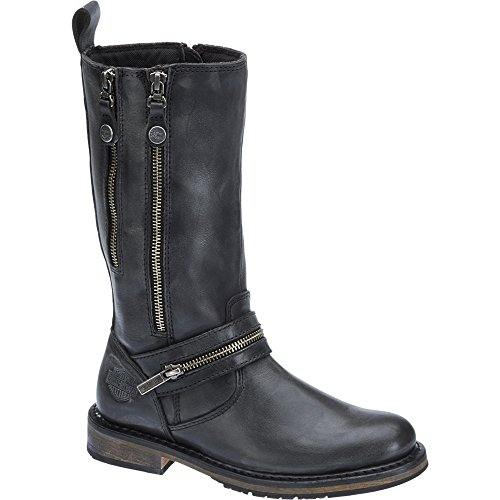 Harley Davidson Womens Sackett Leather Long Boots Black