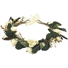 YAZILIND elegante accesorio floral flores artificiales Mori con estilo corona de pelo de la boda guirnalda decorada fiesta marfil flor diadema tocado para mujeres ninas