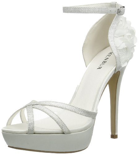 Menbur Wedding Iria, Sandales  Bout ouvert femme Blanc - Elfenbein (Ivory 04)
