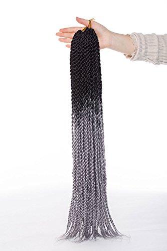 Vero moda 50,8cm ombre senegalese twist braiding hair extensions dreadlock 1pezzi due tonalità crochet trecce per donne bellezza (100g/pack, scuro nero a grigio argento)
