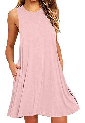 OMZIN Damen Tanktop Einfärbig Lockeres Sommerkleid Rund Ausschnitt Langes Shirt mit Taschen Rosa S (Sommer Kleid Hüte Für Frauen)