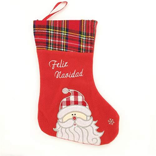 Weihnachtsstrumpf, Nikolausstiefel zum Befüllen & Aufhängen, Nikolausstrumpf Weihnachtssocken Hängende Strümpfe für Weihnachtsdeko, 30 cm mit Santa Schneemann Strümpfen für Süßigkeiten -