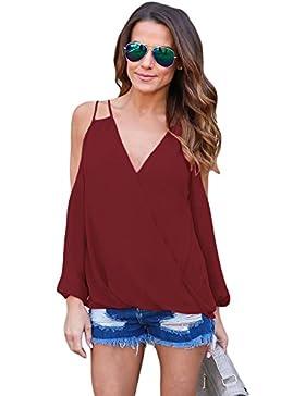 Camiseta de tirantes para el hombro frío de vino con cuello en V y camiseta de manga corta, estilo informal, talla L