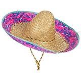 Sombrero mexicano contorno rosa y azul adulto