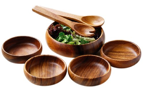 Premier Housewares Kora 7pc Salat Set, Akazienholz