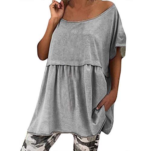B-COMMERCE Frauen einfarbig Plissee Rundhals Kurzarm Rüschensaum Baggy Tunika Bluse Tops Large Size - Layer Henley Tee