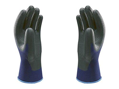7//M Uso general SHOWA 377 Nitrilo Azul con palma negra Revestimiento de Espuma de nitrilo