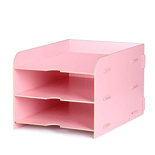 DIY La letteratura di parete Titolare Titolare di File anti-graffio Front-Load lettera i vassoi di deposito Desk Organizer,Vassoio Rack File cornice di finitura in legno scatola di archiviazione 26,5 × 35 × 22cm,Rosa