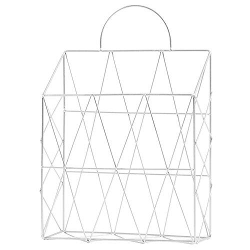 hängenden magazin halter wand montiert zeitung magazin datei veranstalter korb metalldraht buch regal lagerung container display stand - weiß (Hängende Lagerung-körbe)