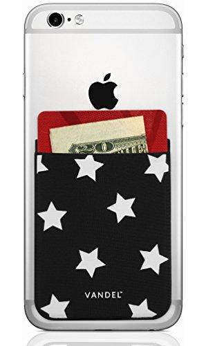 Vandel Pocket: Stick On Fabric Handy Wallet - Kreditkartenhalter für die Rückseite der Smartphone-Hülle - Stretchy Fabric Adhesive Sleeve Kompatibel mit Allen Geräten, Stern (Iphone 4s Wallet Case Für Männer)