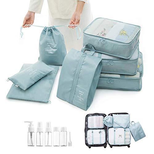 Overmont Kleidertasche Kofferorganizer 7-teiliges Packtasche Set Reisegepäck Organizer für Rucksack Koffer Handgepäck Rosa/Hellblau/Dunkelblau -