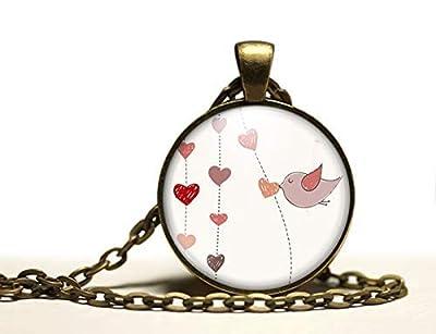 """Collier cabochon, sautoir illustré,""""pluie de coeurs"""", parure, cadeau noel, cadeau femme, cadeau saint valentin, idée cadeau, cadeau anniversaire, bronze (ref.84)"""