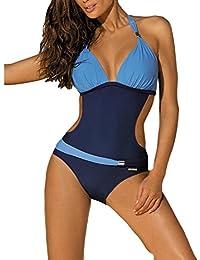 DELEY Mujeres Color Bloque Collar Cuello Halter Bikini Brasileño Vacaciones Traje De Baño Monokini Ropa De Baño Swimwear Swimsuit