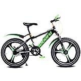 Bicicletta da Bicicletta per Bicicletta da Bambino per Bicicletta da Single-Speed per Studenti, 16〃18〃20〃, Telaio in Acciaio ad Alto tenore di Carbonio (Color : Green, Size : 18inches)