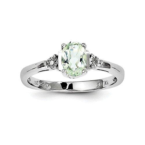 Sterling Silber Diamant Ring Amethyst Grün - Größe N 1/2 - JewelryWeb Größe 10 Ring-amethyst