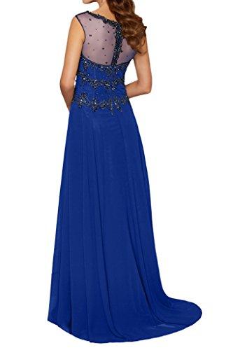Charmant Damen Royal Blau Beige Chiffon Steine Abendkleider Ballkleider  Brautmutter Partykleider Lang Etui Rock Royal Blau