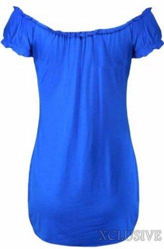 ladies plus size off shoulder gypsy long tops stretch summer boho tops Royal Blue