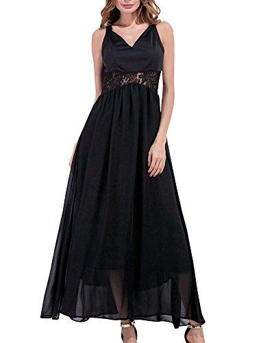 Maxi Vestido de Mujer Cuello V Cintura alta Vestido de la honda Calado Costura Vestido de gasa Negro L