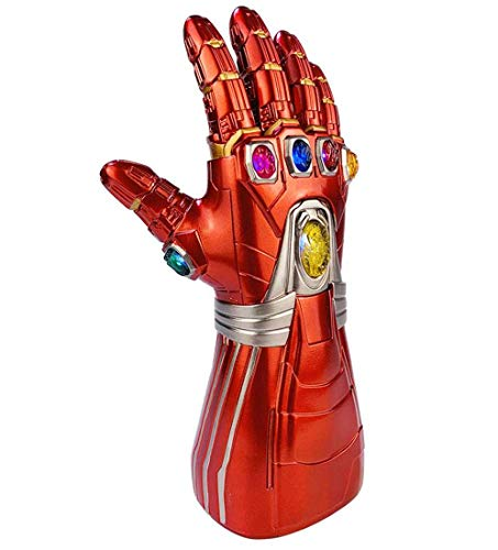 Huiiv Iron Man Infinity Gauntlet Led-Endspiel Tony Stark Thanos Rote PVC-Handschuhe mit Glowing Power Gems Replica Adult Halloween (Lego Spiderman Kostüm)