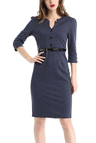 2017 Frühling Einfarbiges V Ausschnitt Kleid mit 3/4-Arm Große Größen Knielanges Bleistiftkleid mit Gürtel (Violett Seiden-baumwoll-kleid)