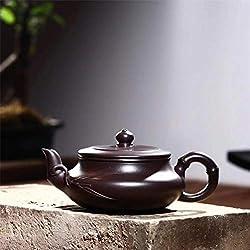 Teteras Yixing Zisha de China, Juego de té de Arena púrpura Mineral en Bruto, bambú Hecho a Mano, Tetera de Cereza Plana, patrón de Hojas de bambú, zisha, 230ML