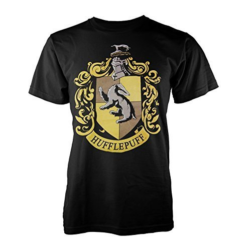 Harry Potter Offiziell Lizenziert Herren Hogwarts Haus Verschiedene Graphischer Aufdruck T-shirts Hufflepuff - Schwarz