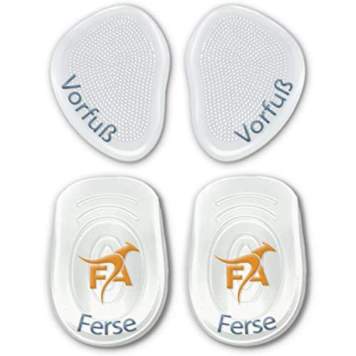 FootActive Gel-Kissen - (4 Stck.) - Wer sanft Auftritt, kommt weit. Gelkissen zur Steigerung des Laufkomforts!, Transparent, 2 Fersen-/ 2 Vorfuß-Pads -