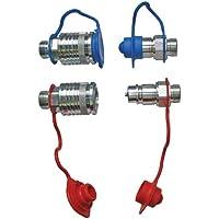 Set Hydraulik- Steckkupplungen 2x Muffe 2x Stecker 15L + 4x Staubschutz rot/blau