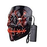 Ballylelly Masque d'halloween Drôle LED Light Up Flash Masque Halloween Party Night Club Festival Hommes Femmes Costume Cosplay LED Nouveautés Masque DJ Masque (Rouge) de