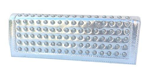 Abendtasche Nieten in Metallic-Optik 27x10x4cm Silber